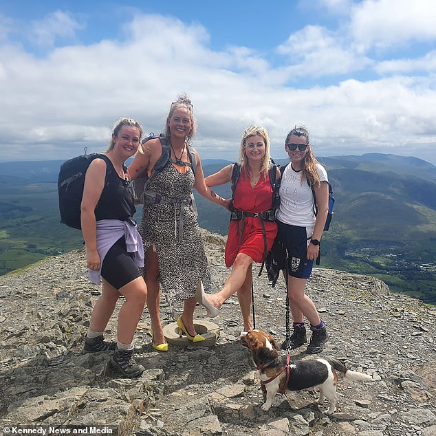 They completed the feat in just 90 minutes and toasted their achievement with a celebratory cooling dip in mountain lake Scales Tarn on the way down