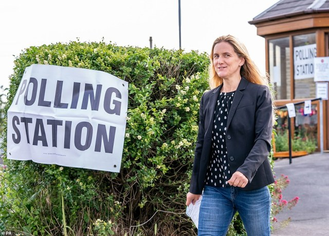 Labour party candidate Kim Leadbeater leaves Norristhorpe United Reformed Church polling station after casting her vote in the West Yorkshire constituency by-election at Batley and Spen