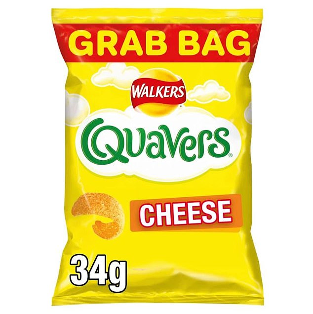 A bag of Quavers (pictured) would rise in cost by 5p to 91p a packet if the six per cent tax on salty foods goes ahead
