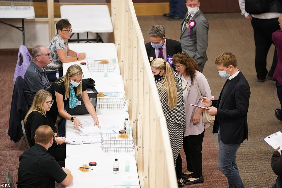 Votes are counted at Cathedral House in Huddersfield, for the Batley and Spen by-election