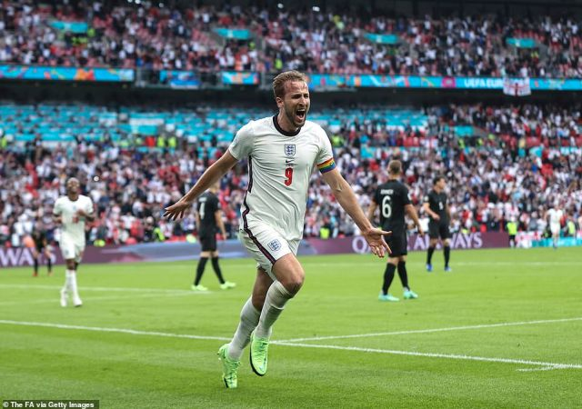 Harry Kane of England celebrates after scoring his team's second goal during the UEFA Euro 2020 Championship Round of 16 match between England and Germany at Wembley Stadium