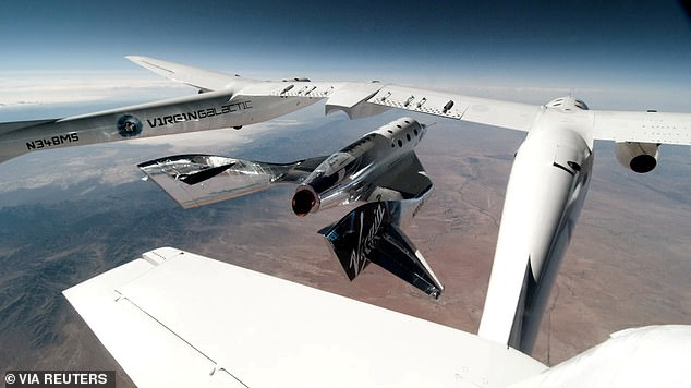 Virgin Galactic's VSS Unity, piloted by CJ Sturckow and Dave Mackay, is released from its mothership, VMS Eve, on the way to its first spaceflight after launch from Spaceport America, New Mexico in May