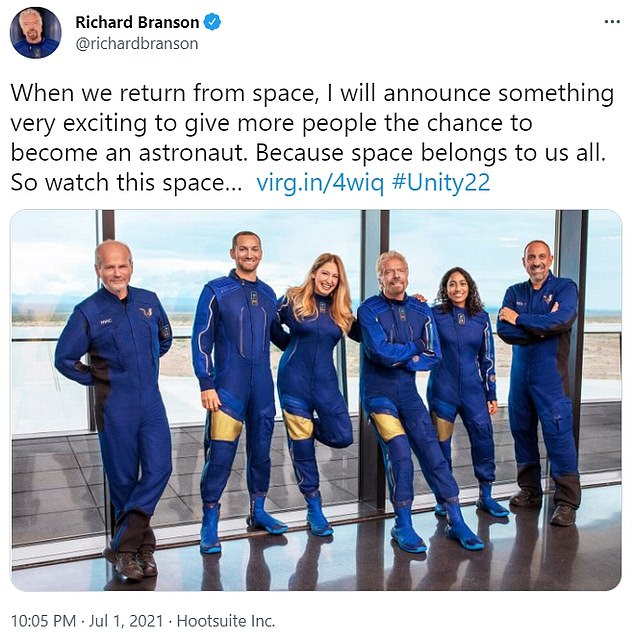 Late Thursday, Branson teased an announcement about others traveling into space