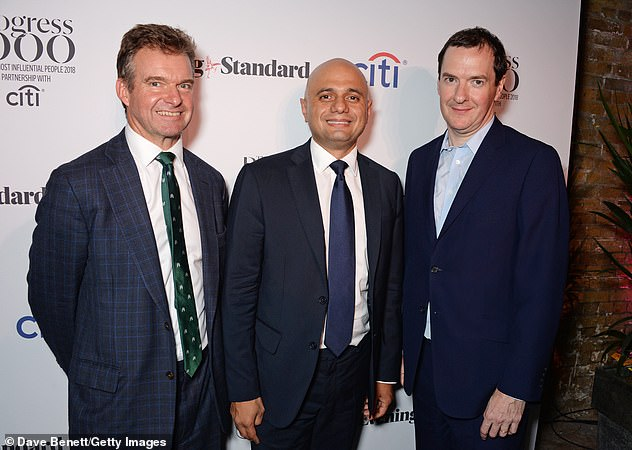 James Bardrick (left, with Sajid Javid and George Osborne in 2018) said the 'vast majority' of its workers - 6,000 in London and 3,000 in Belfast - will be called in three days a week if restrictions are eased on July 19
