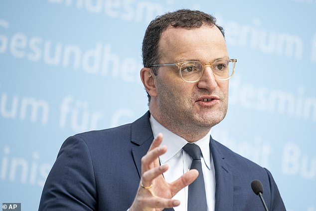 Pictured: Germany'sHealth Minister Jens Spahn. He conferred with his colleagues from Germany's 16 states on Friday, the day after the country's standing committee on vaccination issued a draft recommendation about using difference