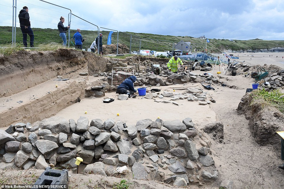 When human remains were exposed during the severe storms of 2014, a large-scale rescue excavation was undertaken by Dyfed Archaeological Trust and the University of Sheffield. Pictured, excavation work at the site in 2021 during the most recentsix-week excavation