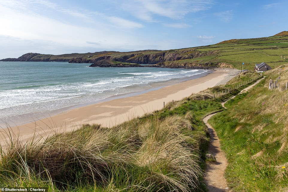 Whitesands beach, which curves north towards the remote rocky headland of St Davids Head, is said to be one of the best surfing beaches in the country (stock image)