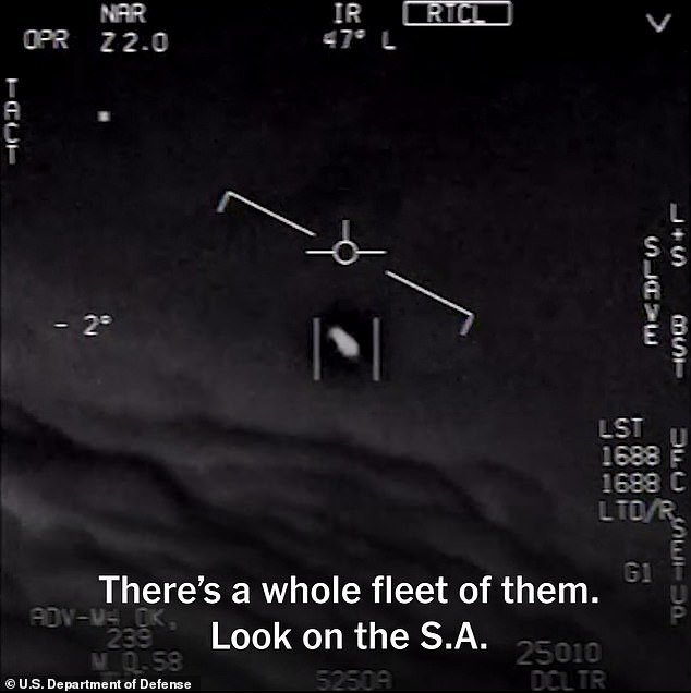 The other video shows the notorious 2004 'Tic Tac' incident (pictured) that was recorded over the Pacific Ocean