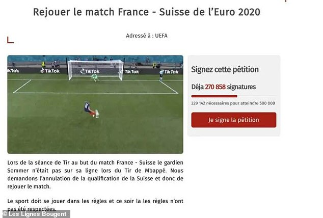 Over 270,000 people signed a petition for France and Switzerland's game to be replayed after it claimed Sommer had broken the rules by leaving his line before saving Mbappe's spot kick