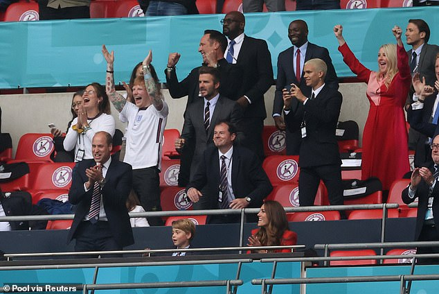 The 30-year-old was in the Royal Box at Wembley for England's 2-0 win over Germany with David Beckham, David Seaman, Ellie Goulding and the Duke and Duchess of Cambridge