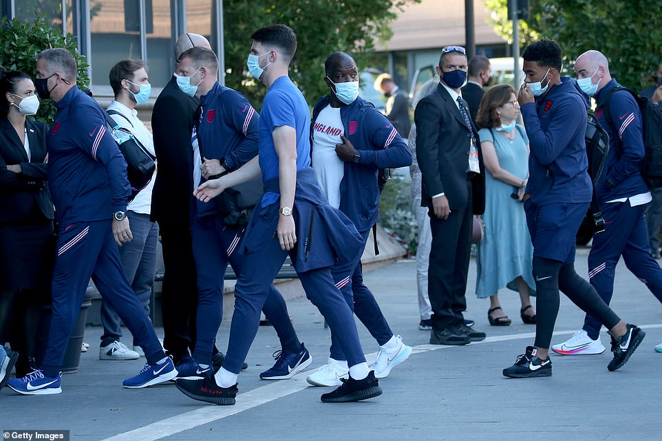 The England football team arrives at A.Roma Lifestyle Hotel ahead of the UEFA Euro 2020 Quarter Final match between Ukraine and England tonight