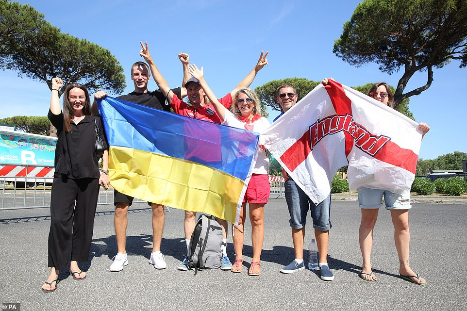 England and Ukraine flags have been snapped all over the Italian capital today ahead of this evening's hotly anticipated quarter final
