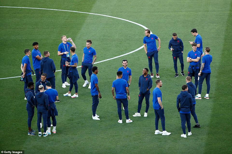 Members of the Three Lions squad looked sharp in their blue as they took to the pitch ahead of the 8pm kickoff