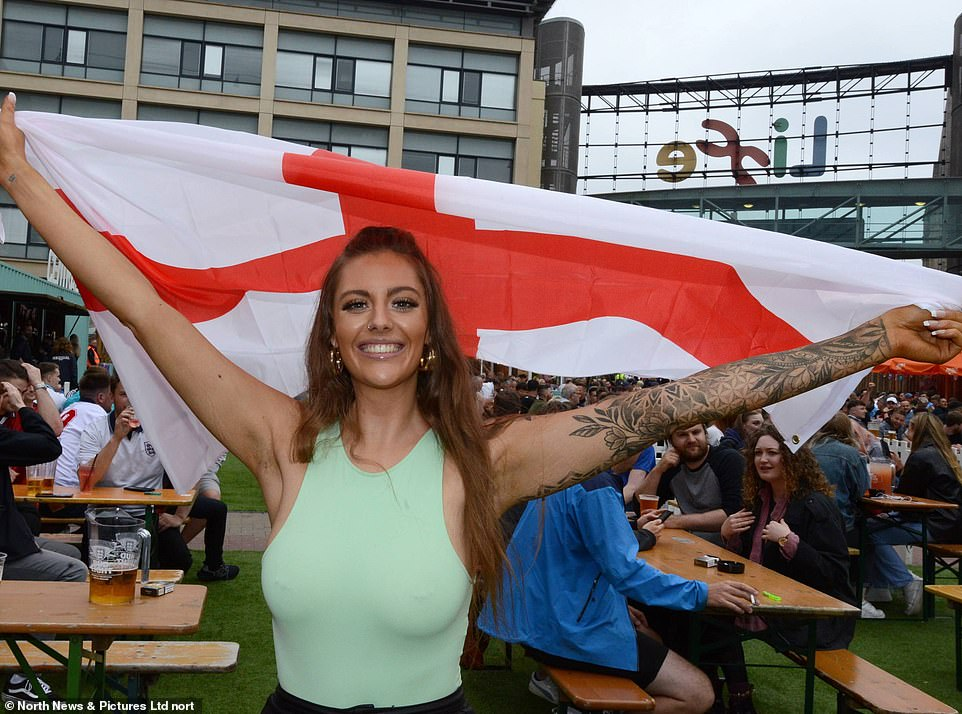 England fans congregate in Newcastle's Times Square ahead of tonight's UEFA Euro 2020 quarter final against Ukraine