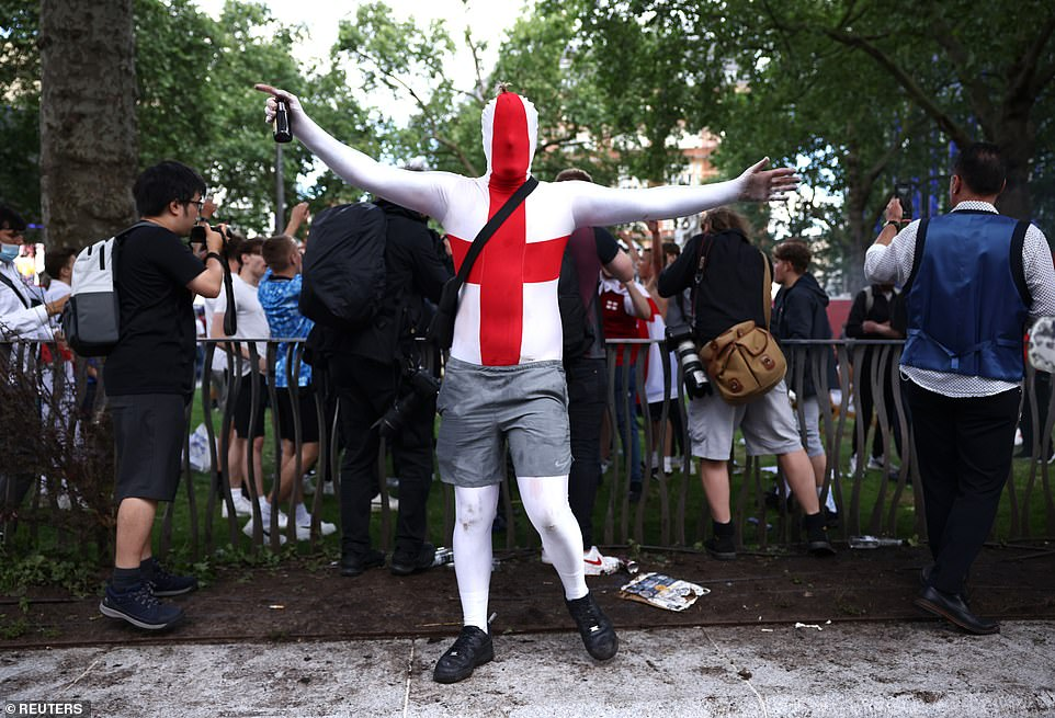 Despite Covid restrictions preventing many fans from travelling to italy, thousands of fans have gathered in fan parks such as those in London (above) ahead of tonight's quarter final