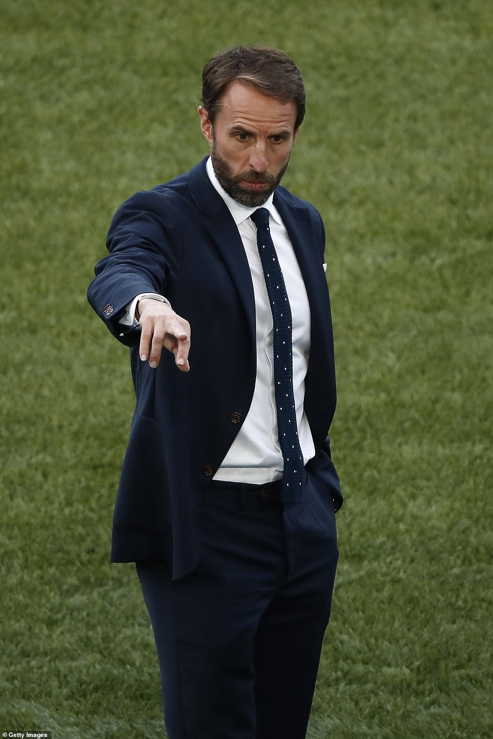 It's Coming Home: England manager Gareth Southgate looks on prior to the Euro 2020 Championship quarter final against Ukraine