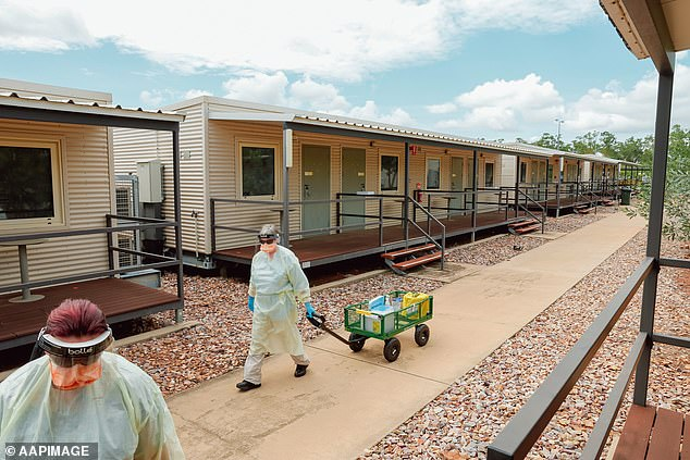 The Northern Territory facility (pictured), which currently takes 850 arrivals a fortnight, will take 2,000 travellers every two weeks by May