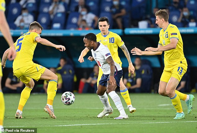 The Manchester City star cut in off the left and then played a crafty ball in behind the Ukraine defence