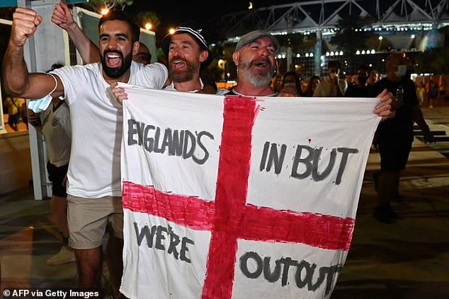 Even those in Rome (above) couldn't help themselves as the Three Lions will play their first Euro semi final in 25 years