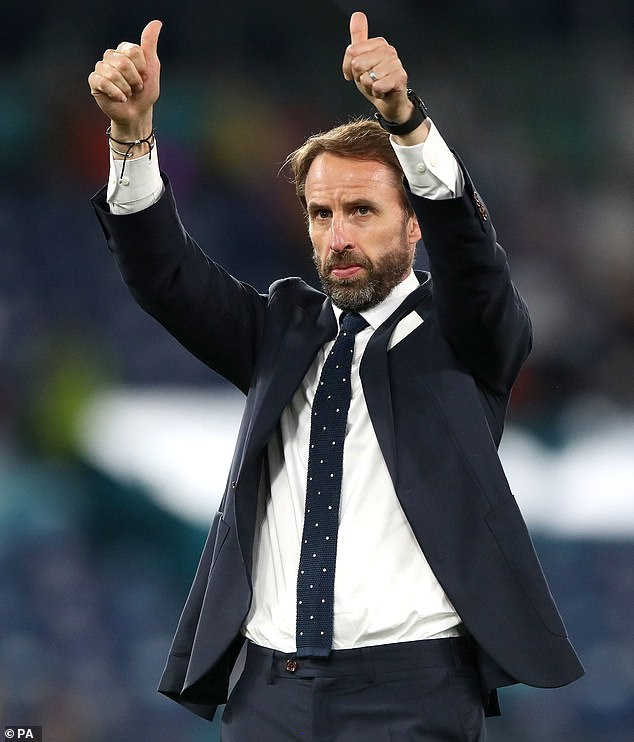 England manager has been wearing a knitted navy blue polka dot tie for most of national team's games during the Euros - and fans have dubbed it 'lucky'