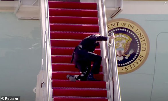 Over the years, President Joe Biden has made numerous gaffes and mix-ups and has even been caught falling. Pictured: Biden falling while walking up the stairs of Air Force One on March 19