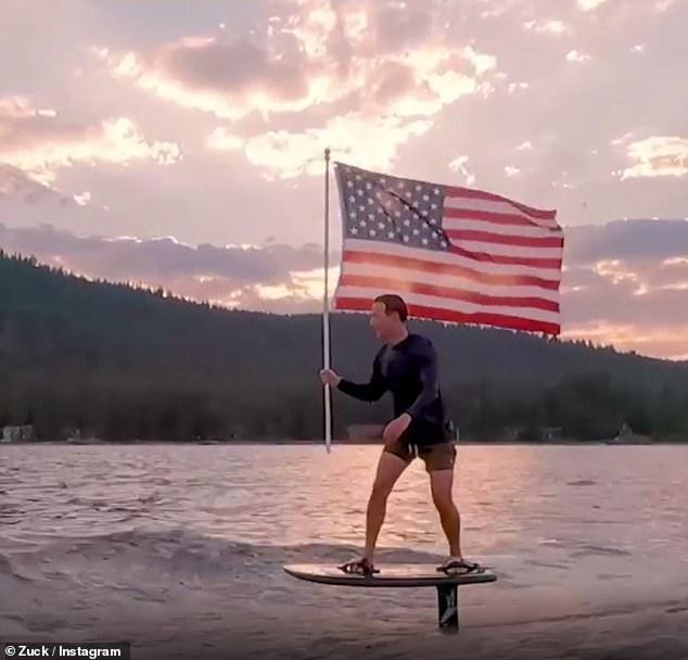 मार्क जुकरबर्ग ने 4 जुलाई को अपने इंस्टाग्राम अकाउंट पर एक गंभीर क्लिप पोस्ट की जिसमें वह एक इलेक्ट्रॉनिक सर्फ़बोर्ड पर पानी के ऊपर सवारी करते हैं