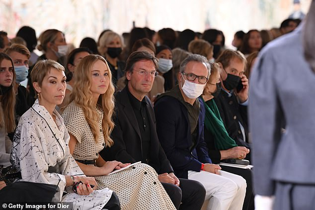 FROW: Jennifer took pride of place on the front row at the glamorous event
