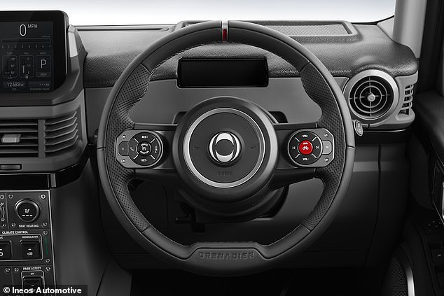 The steering wheel is a fairly simple two-spoke design with the Grenadier carved into the bottom and the main horn controls at the wheel center around the brand's logo.