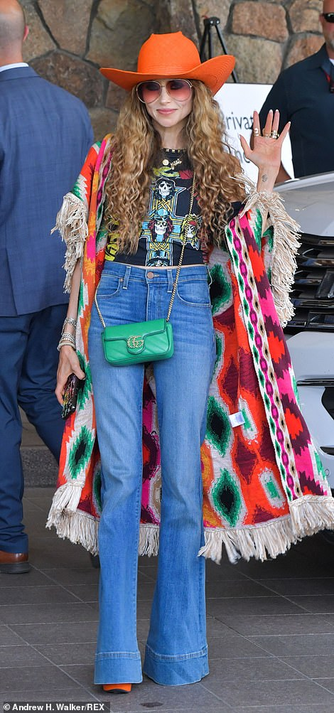 Stacey Bendet, CEO of fashion company Alice + Olivia, arrived on Tuesday at this year's 'billionaire summer camp' at Sun Valley, where some of the biggest names in tech, design, film and sports gather each year for the five-day conference