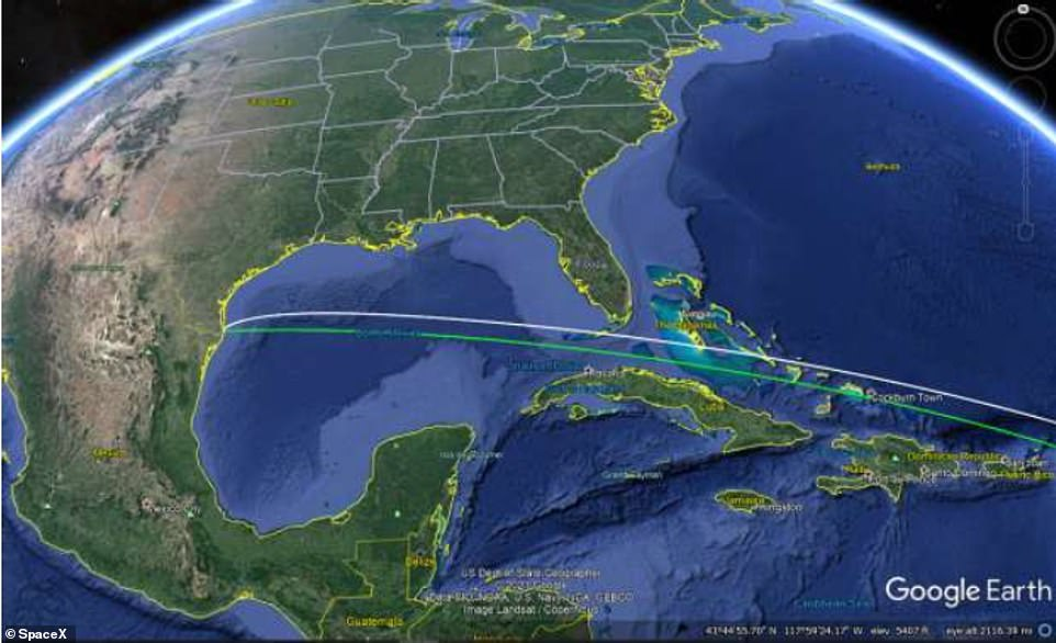 A map provided as part of SpaceX's FCC filing shows how the Starship rocket would launch from Texas before reaching orbit
