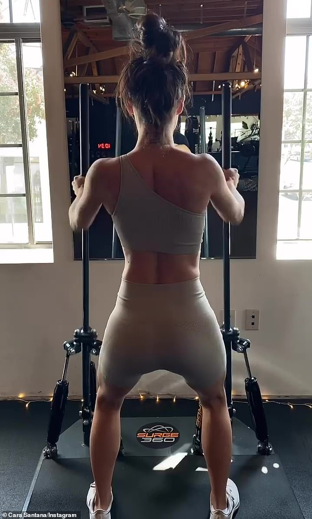 All over the place: The Real Bros Of Simi Valley actress was seen working on several muscle groups during her time at the gym
