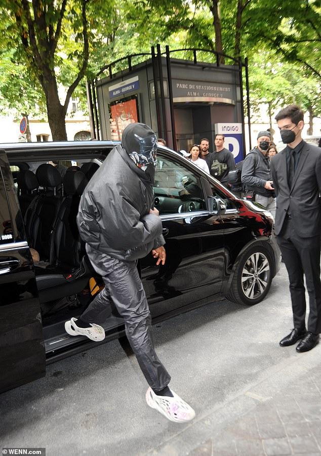 Kanye West 44 Goes Undercover In Black Balaclava At Paris Fashion Week Balenciaga Show Healthyfrog