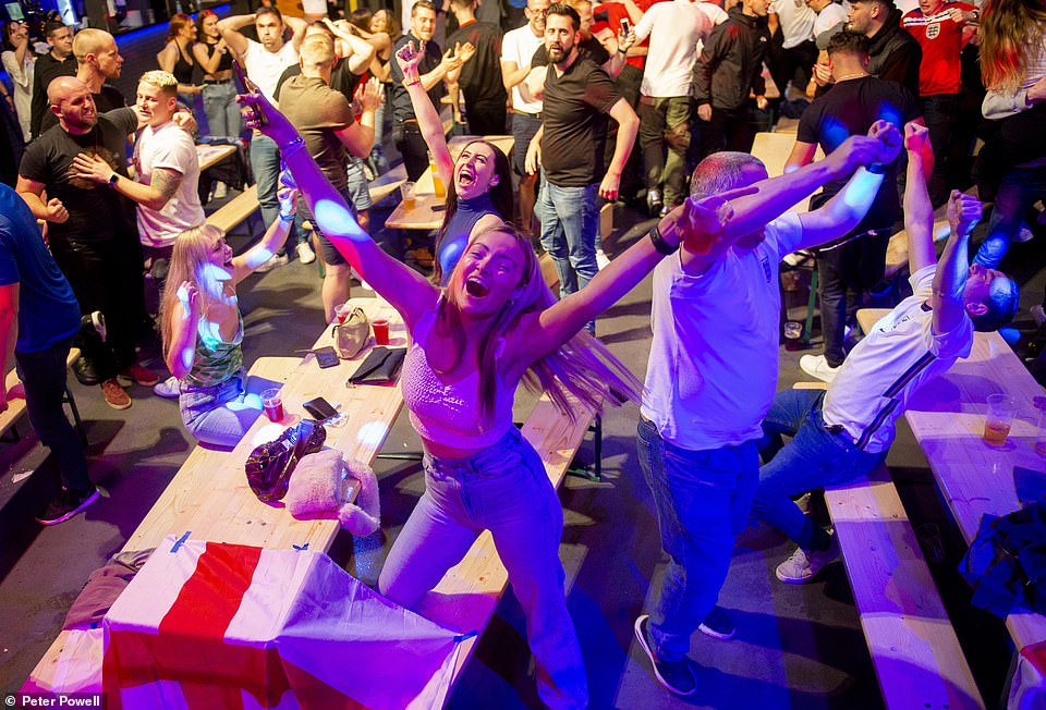 In Liverpool hundreds of fans leap for joy as England secure their spot in the final of the Euro 2020 game
