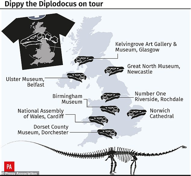 The tour of the UK marks the first time the cast has been publicly displayed outside the Natural History Museum, London