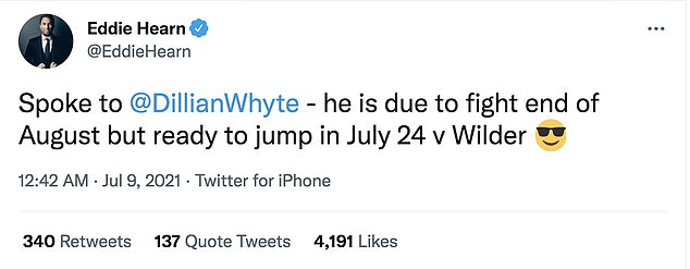 Eddie Hearn responded to the news, claiming Dillian Whyte is ready to step in on July 24 24