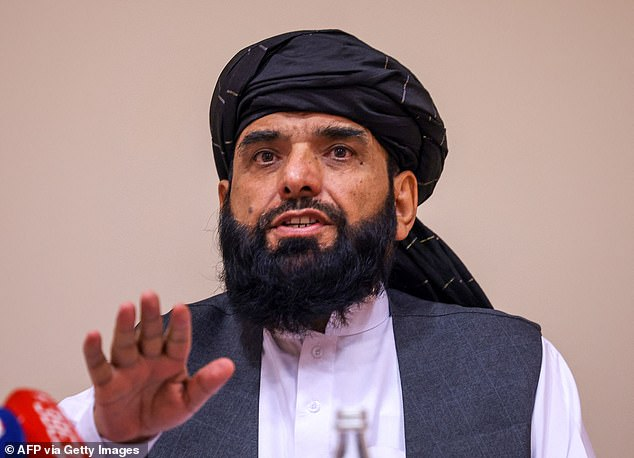 Taliban negotiator Suhail Shaheen speaks at the press conference in the Russian capital on Friday