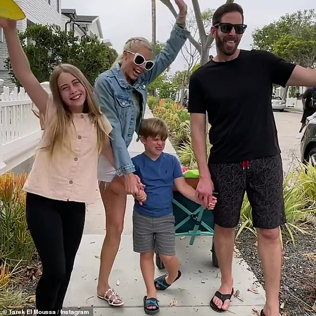 Co-parenting: El Moussa and Haack are co-parenting their two children:daughter Taylor, 10, and a son Brayden, five, while their in new relationships; the Flip Or Flop star is pictured with fiancee and his kids