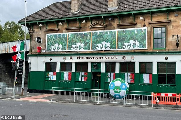 The Brazen Head pub in Glasgow has been decked out in Italian flags ahead of the nation's Euros final showdown with England
