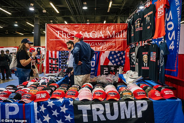 Trump will speak at CPAC on Sunday afternoon. A vender sells Trump merchandise during CPAC on Saturday