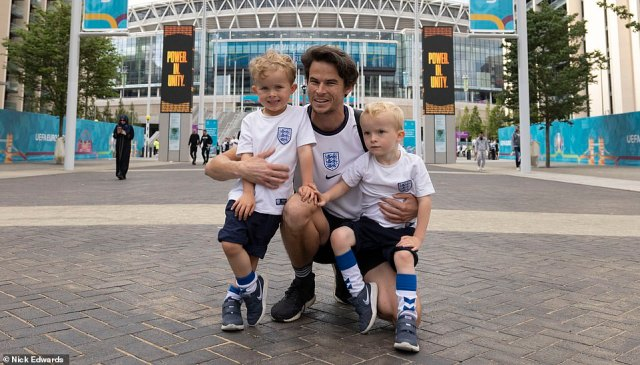 Pictured: Jack with his twin sons Alfie and Leo at Wembley Stadium ahead of the Euro 2020 final against Italy