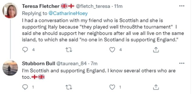 Kate Hoey, Baroness of Lylehill and Rathlin, this morning tweeted: 'If England become European champions tonight it will be a win for the whole of the United Kingdom,Wales,Northern Ireland and Scotland. We are all British and will celebrate'