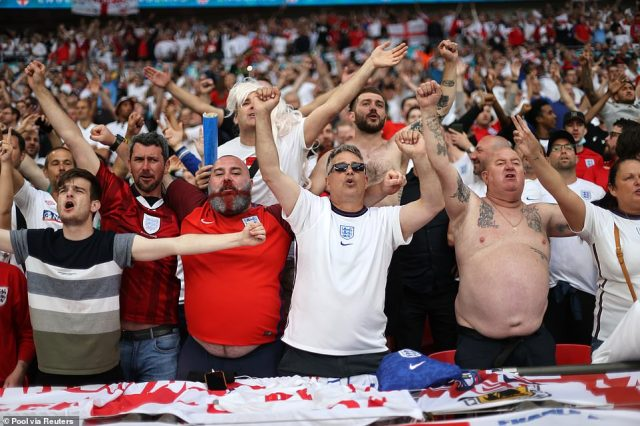 England fans have been singing Sweet Caroline and It's Coming Home on the country's greatest footballing occasion in 55 years