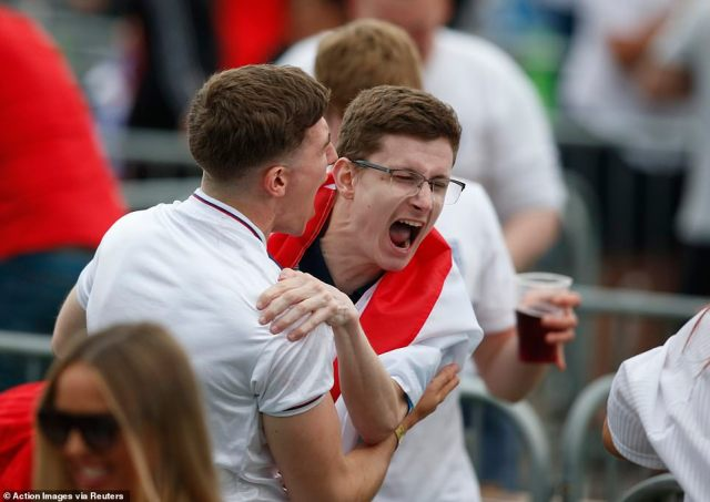 Fans at the 4TheFans Park in Manchester screamed for joy as England took an early lead against Italy in the Euro 2020 final