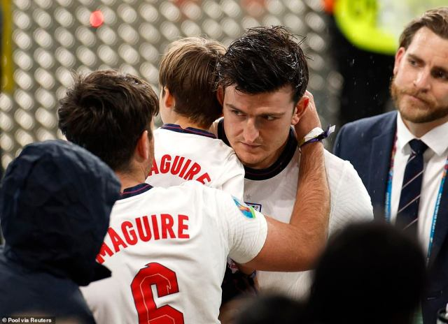 Harry Maguire was also consoled by family members following the final, which saw England dealt a hammer blow when Leonardo Bonucci equalised in the 67th minute