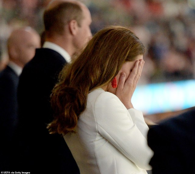 Earlier, Kate put her head in her hands at the end of the UEFA Euro 2020 Championship final between Italy and England
