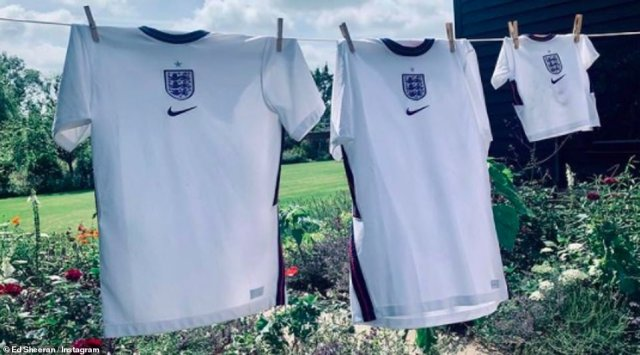 Cute: Ed Sheeran shared a photo of his family of football shirts to cheer England on