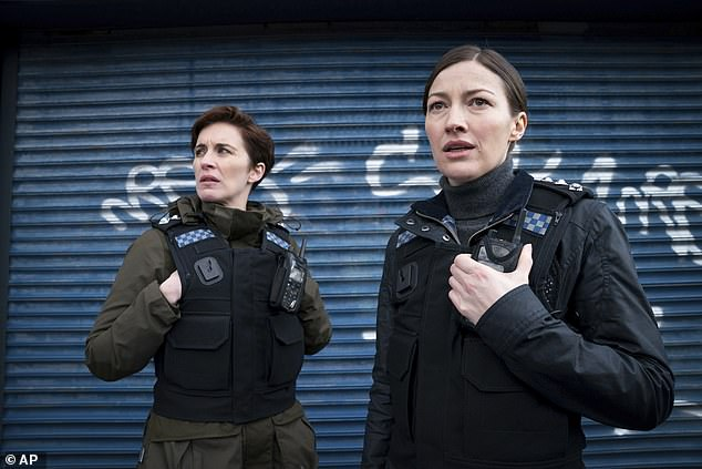 A report has revealed men feel the BBC no longer reflects them after the drive to increase women on air and on screen. Pictured: Vicky McClure and Kelly McDonald in Line of Duty