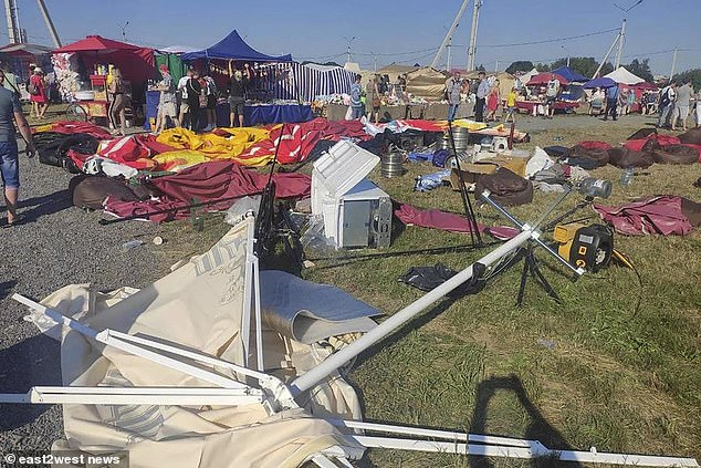 The scene of devastation after the bouncy castles were ripped from their moorings and lifted up into the air