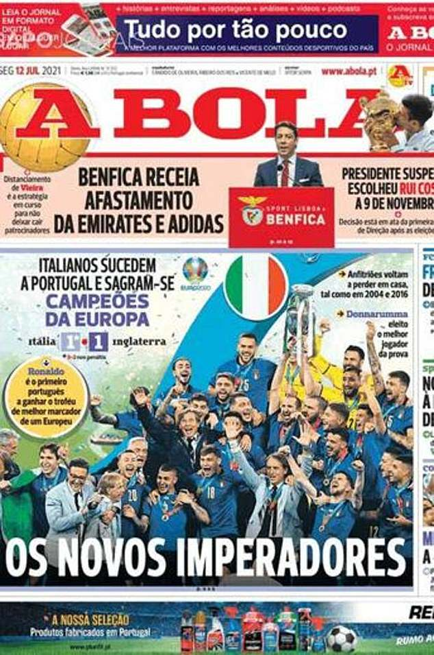  Portuguese newspaper A Bola seemed pleased to crown Italy 'the new emperors' of Europe