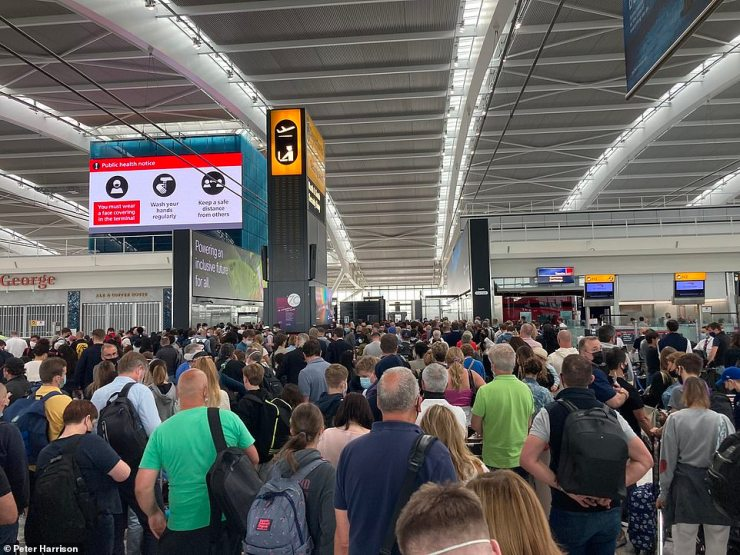 Chaotic scenes at London Heathrow Airport this morning in the departures hall of the Terminal Five building